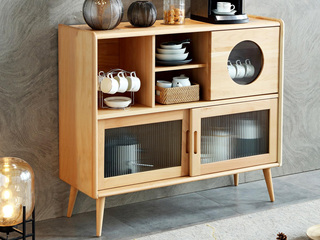 北欧气概 榉木坚忍框架 原木色 餐边柜