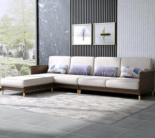 B811#瑞德家居  北欧乡村风格 白蜡木框架 布艺沙发套装(1+2+右贵妃)