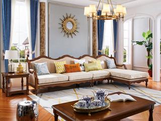 简美气概 入口橡胶木 坚忍无形 金丝柚木色 色彩靓丽 店长保举 美式转角沙发(1+3+左贵妃)