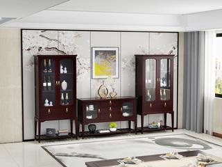 珍稀金丝檀木 繁复新中式酒柜双门酒柜装潢柜