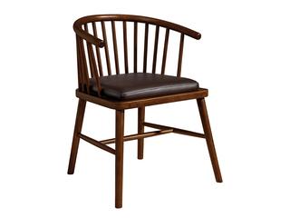 意式极简气概  印尼胡桃木 高仿纳帕纹真皮餐椅