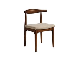 意式极简气概  印尼胡桃木 棉夏布艺餐椅