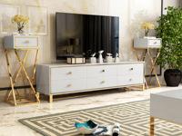 慕梵希 轻奢 白不锈钢镀金 钢化玻璃 1.8米C02电视柜