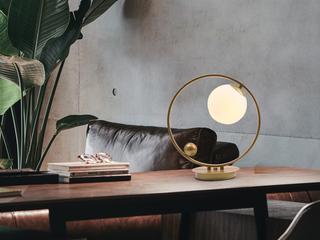 北欧气概 铁艺烤漆+玻璃8033-1金色台灯(含E27矮泡5W白光)