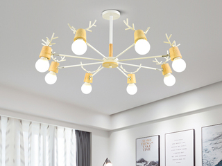 北欧气概 铁艺加木头2248-10吊灯(含E27龙珠泡白光7W)图为8头 现实10头