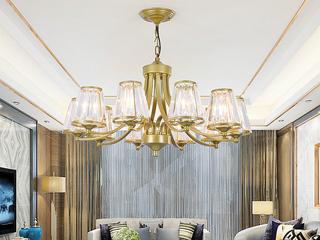 轻奢 铁艺+水晶罩1635-10 金色吊灯(E27秃顶强暖光12W)