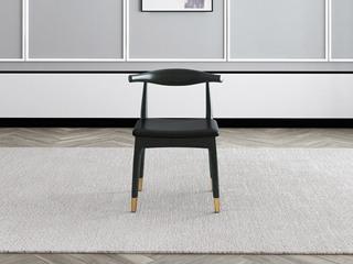 轻奢气概 Q302 玄色超纤皮 铁艺脚餐椅
