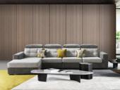 法莱顿 高端大气 时髦温馨 三防植绒布亲肤透气 古代布艺沙发组合(1+3+右贵妃)