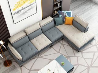 极简气概 科技布面料 乳胶颗粒 双色沙发组合(1+3+左贵妃)