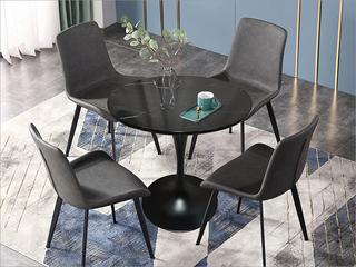 轻奢气概 大理石 黑砂铁柱0.7m大理石洽商桌