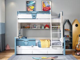 简美气概 优良橡胶木 环保漆 耐久耐用 宁静防护 1.5m双层儿童床(不含拖床)