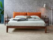 木之忆 北欧气概 北美入口白腊木 优良松木床板 耐久耐用 高密度海绵 时髦橙超纤皮靠背 1.5*2.0m床