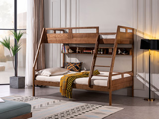 北欧气概 北美入口洋蜡木 安康原木 大户型专属 儿童子母床