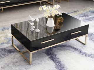 轻奢气概 镀金不锈钢 细致滑腻台面 时髦黑 1.3m茶几