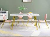 梵克美家 轻奢气概 中华白大理石 镀金不锈钢 繁复时髦 1.2m餐桌
