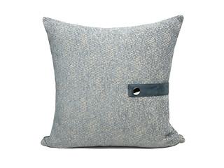 轻奢 肌理布+皮革 灰色 斑纹 抱枕