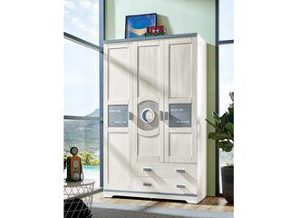古代繁复 主材樱桃木+洋蜡木 大宝环保水性漆 全实木三门带抽衣柜