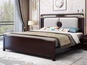 华韵 新中式 橡木 主卧 双人 储物 1.8米棉夏布 气压高箱床