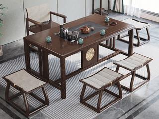 新中式气概 紫檀色 1.5米橡胶木茶台(含大理石,电磁炉)