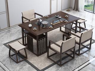 新中式气概 优良橡胶木 紫檀色 1.6米工夫茶台