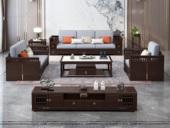 华韵  新中式  客堂 家用  储物 高回弹海绵  棉夏布 松木架 高箱款沙发套装橡木实木脚  1+2+3