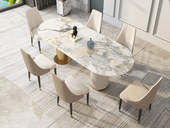 慕梵希 轻奢气概 岩板 钢琴烤漆 坚纹浮雕工艺 1.4米 餐桌