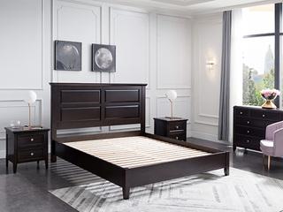 顿图系列 简美气概 实木 1.8米 胡桃色 床(含实木床排)
