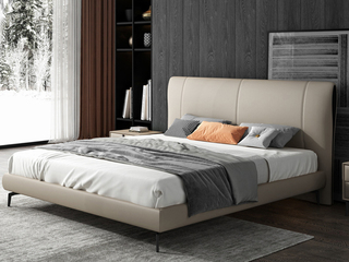 极简风格 全实木内架 柔软舒适 皮艺1.8米卧室双人床(搭配10公分松木排骨架)