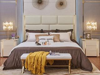 轻奢风格 不锈钢镀钛金 高弹海绵 优质超纤皮1.8*2.0米床