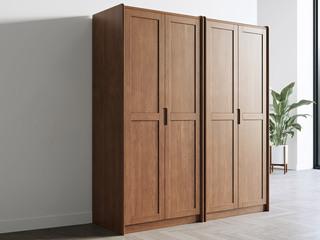 北欧风格 榉木坚固框架 胡桃色 智慧收纳衣柜组合