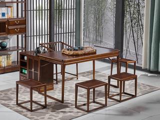 中式风格 北美进口白蜡木 胡桃色茶桌