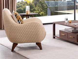 意式极简 时尚造型 皮艺 精品胡桃木 柔软座包 极致舒适 实木脚 休闲椅