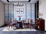 墨舍 新中式 东南亚进口红檀木  餐椅