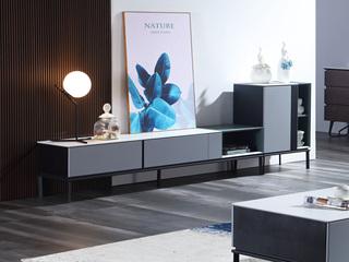 极简风格 岩板面 细腻顺滑 碳素钢脚 2.0m电视柜