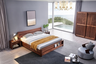 意式极简 优质胡桃木 自然质朴 耐磨耐腐 床尾收纳设计 1.8*2.0m高箱床