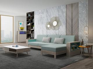 现代简约 坚韧白蜡木 实木框架 储物扶手 拉伸功能沙发(3+左贵妃)
