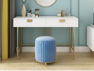 轻奢风格 精美条纹设计 优雅镀金支脚 梦幻白(1.4m妆台+高圆妆凳)组合