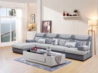 【】贵妃不分方向 五金活动扶手配件 现代风格转角沙发组合(1+3+左右贵妃)