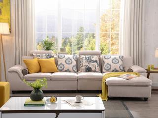 布艺沙发组合小户型简约靠枕可升降功能客厅家具米黄色 沙发组合(1+3+左贵妃)