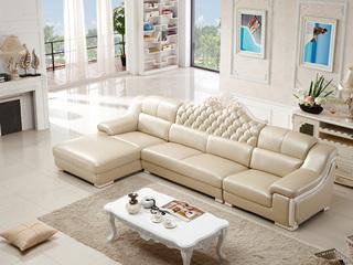 现代风格 皮沙发 功能性头枕靠包可拆洗时尚转角沙发1+3+右贵妃