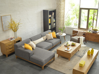 北欧宜家布艺沙发组合 小户型型客厅转角贵妃 3+右贵妃