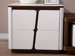 优质钢化玻璃现代边柜 客厅家具白色斗柜