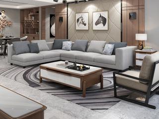 实木框架 现代简约大气客厅布艺组合沙发 透气涤棉布料 全拆洗 沙发组合(1+2+右转角)