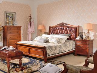 进口桃花芯木 头层牛皮 美式风格 实木双人床 卧室婚床 1.8米大床