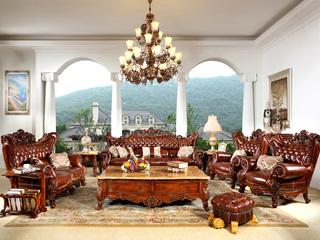 进口桃花芯木 头层牛皮 立体双面雕花 美式风格 实木沙发 真皮沙发 客体沙发组合 大户型高档沙发 1+2+3沙发组合