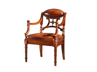 进口桃花芯木 头层牛皮书椅 高档实木 美式古典风格 实木