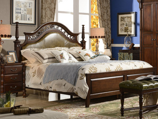 进口美楸 高档油蜡皮床头 镂空 实木雕刻 美式风格1.8米双人床