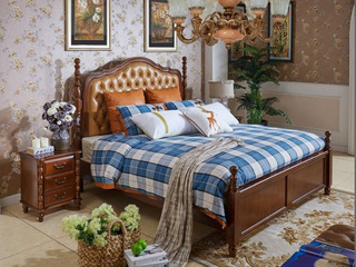 进口桦木 头层牛皮床头 双人公主床 美式乡村床 1.8米浅樱桃色