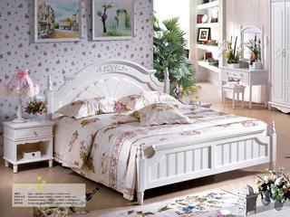 优质进口橡胶木坚固框架  象牙白 手工雕花 韩式风格高箱1.8米床