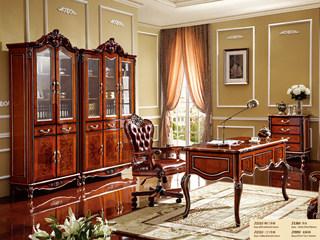 深法系列 橡胶木框架+头层牛皮+高弹海绵+金属底座+轮子玫瑰金老板椅